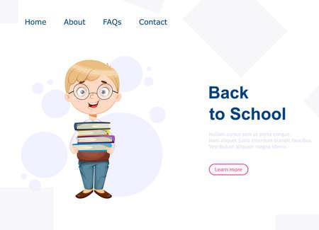 Back to school. Cute schoolboy holds books. Funny boy cartoon character. Vector illustration, usable for landing page, website etc. Ilustração