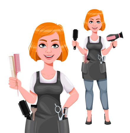 Beautiful redhead girl hairdresser, set of two poses. Cute woman barber. Female hairstylist cartoon character. Vector illustration on white background Ilustração