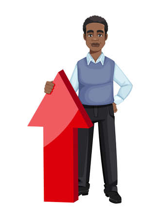 African American business man standing near big red arrow. Cheerful handsome businessman cartoon character. Vector illustration