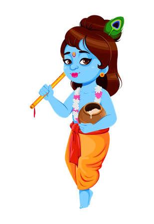 Happy Krishna Janmashtami, set of three poses. Lord Krishna with flute and pot. Happy Janmashtami festival of India. Vector illustration isolated on white background