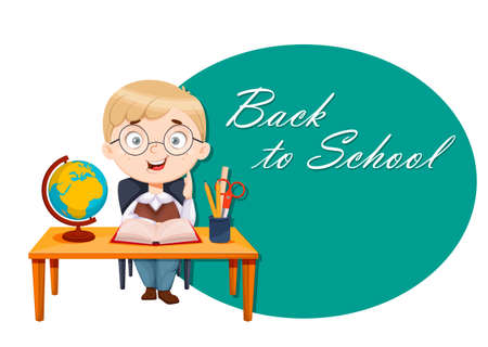 Back to school. Cute schoolboy sits at the desk while geography lesson. Funny boy cartoon character. Vector illustration