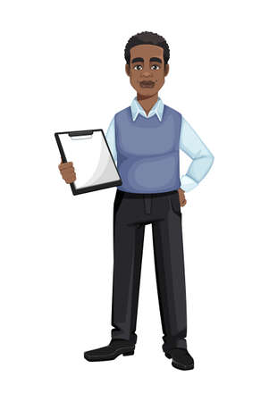 African American business man holding clipboard. Cheerful handsome businessman cartoon character. Vector illustration