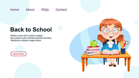 Back to school. Cute schoolgirl sitting at the desk. Funny girl cartoon character. Vector illustration, usable for landing page, website etc.
