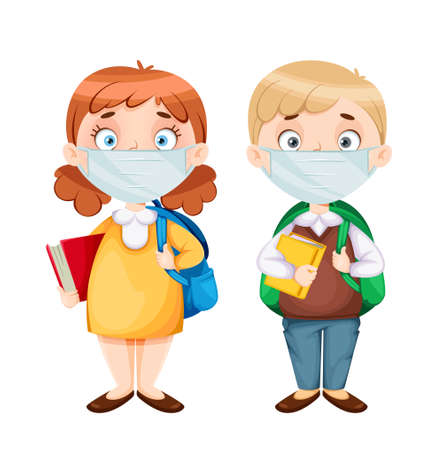 Back to school. Cute schoolgirl and schoolboy in medical masks. Funny girl and boy cartoon characters. Vector illustration on white background Ilustração