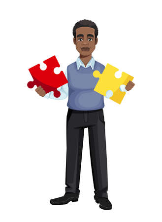 African American business man holding two pieces of puzzle. Cheerful handsome businessman cartoon character. Vector illustration