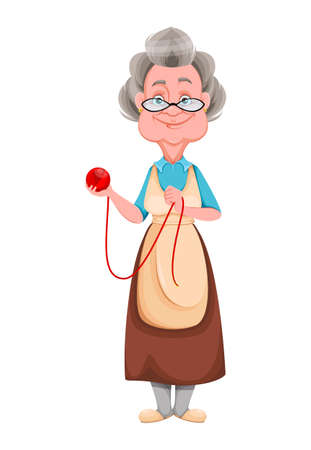 Happy Grandparents day. Kind Granny holding a ball of yarn. Cute old woman. Cheerful grandmother cartoon character. Vector illustration isolated on white background