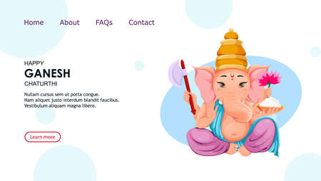 Lord Ganesha. Ganpati idol in traditional Indian clothes for Ganesha Chaturthi holiday. Vector illustration, usable for website, landing page etc. Ilustração