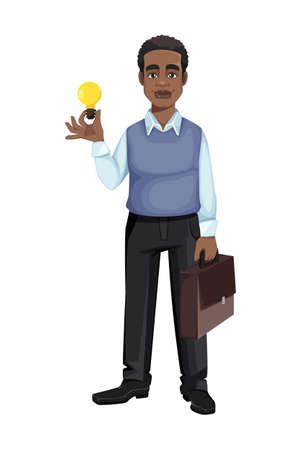 African American business man having a good idea. Cheerful handsome businessman cartoon character. Vector illustration