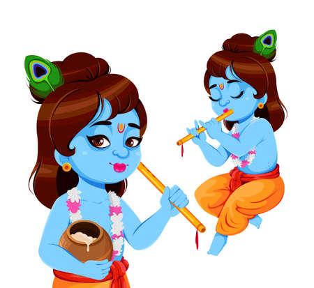 Happy Krishna Janmashtami, set of two poses. Lord Krishna with flute. Happy Janmashtami festival of India. Vector illustration