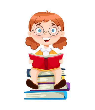 Back to school. Cute schoolgirl sitting on books. Funny girl cartoon character. Vector illustration