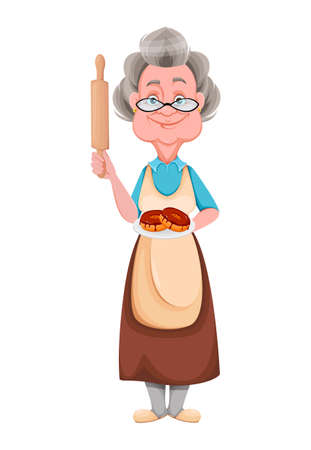 Happy Grandparents day. Kind Granny holding plate with donuts. Cute old woman. Cheerful grandmother cartoon character. Vector illustration isolated on white background Ilustração