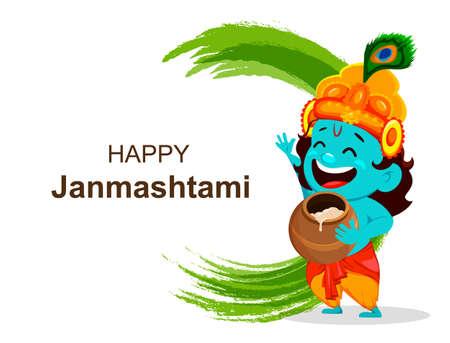 Happy Krishna Janmashtami sale. Cartoon character Lord Krishna. Happy Janmashtami festival of India. Vector illustration on abstract background