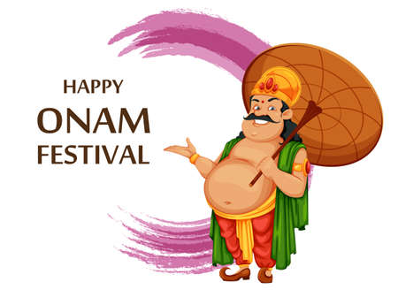 Greeting card for Happy Onam festival in Kerala. Onam celebration, traditional Indian holiday. King Mahabali with umbrella. Vector illustration Ilustração