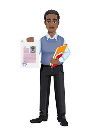 African American business man holding documents. Cheerful handsome businessman cartoon character. Vector illustration Ilustração