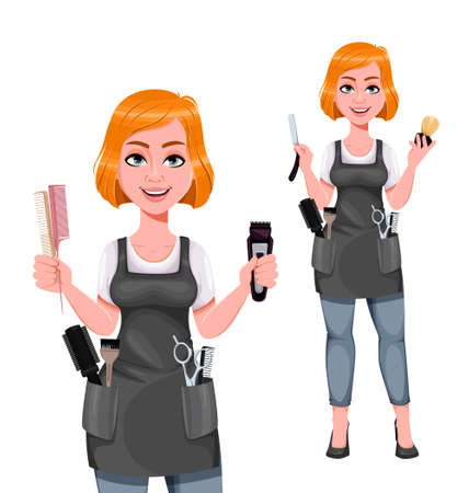 Beautiful redhead girl hairdresser, set of two poses. Cute woman barber. Female hairstylist cartoon character. Vector illustration