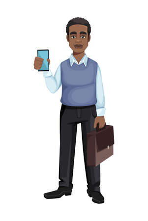 African American business man holding smartphone and suitcase. Cheerful handsome businessman cartoon character. Vector illustration