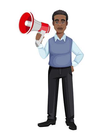 African American business man holding loudspeaker. Cheerful handsome businessman cartoon character. Vector illustration