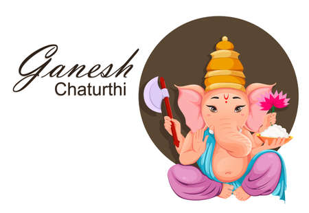 Lord Ganesha. Greeting card with Ganpati idol in traditional Indian clothes for Ganesha Chaturthi holiday. Vector illustration