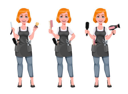 Beautiful redhead girl hairdresser, set of three poses. Cute woman barber. Female hairstylist cartoon character. Vector illustration