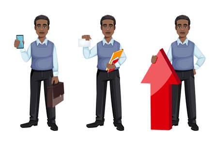African American business man, set of three poses. Cheerful handsome businessman cartoon character. Vector illustration
