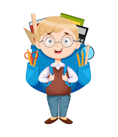 Back to school. Cute schoolboy with big backpack. Funny boy cartoon character. Vector illustration 向量圖像