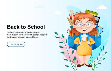 Back to school. Cute schoolgirl with big backpack. Funny girl cartoon character. Vector illustration, usable for landing page, website etc.