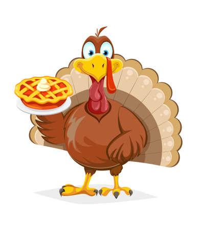 Happy Thanksgiving Day. Funny Thanksgiving Turkey bird holding sweet pumpkin pie. Vector illustration