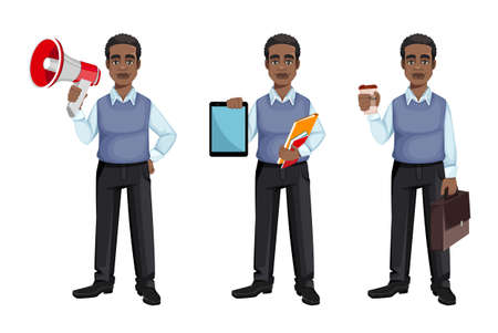 African American business man holding loudspeaker, holding tablet and holding a cup of coffee, set of three poses. Cheerful handsome businessman cartoon character. Vector illustration 向量圖像
