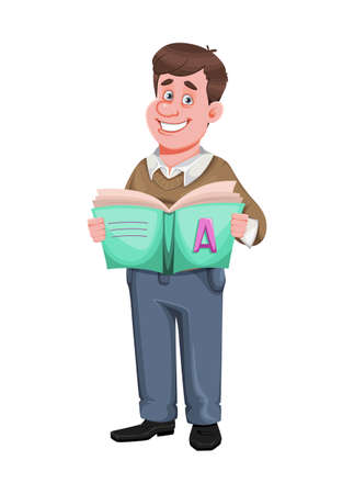 Back to school. Cheerful male teacher holds ABC-book. Handsome teacher cartoon character. Vector illustration isolated on white background
