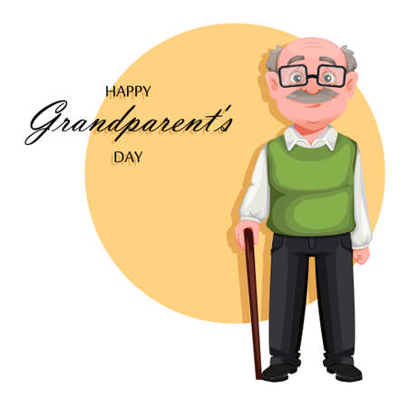 Happy Grandparents day greeting card. Handsome smiling old man. Cheerful grandfather cartoon character. Vector illustration 向量圖像