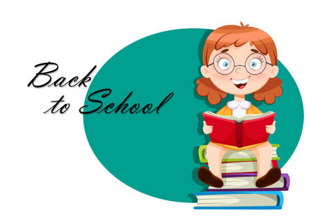 Back to school greeting card. Cute schoolgirl sitting on books. Funny girl cartoon character. Vector illustration 向量圖像