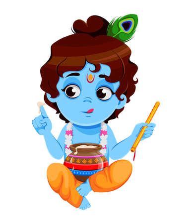 Happy Krishna Janmashtami sale. Little Lord Krishna sitting with flute and pot. Happy Janmashtami festival of India. Vector illustration on white background