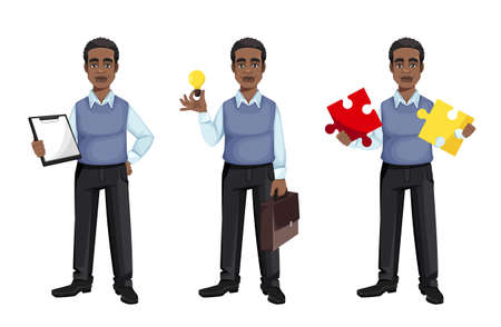 African American business man, set of three poses. Cheerful handsome businessman cartoon character. Vector illustration on white background 向量圖像