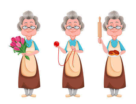 Happy Grandparents day, set of three poses. Cute smiling old woman. Cheerful grandmother cartoon character holding flowers, holding a ball of yarn and holding doughnuts. Vector illustration