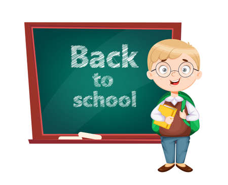 Back to school. Cute schoolboy standing near chalkboard. Funny boy cartoon character. Vector illustration, usable for landing page, website etc. 向量圖像