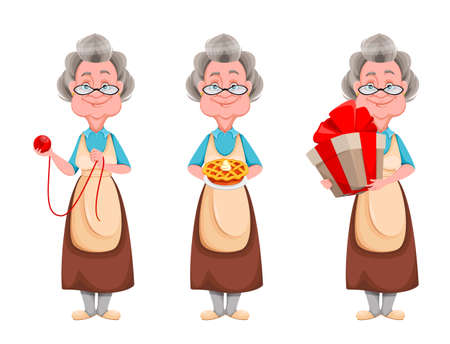 Happy Grandparents day, set of three poses. Cute smiling old woman. Cheerful grandmother cartoon character. Vector illustration on white background 向量圖像
