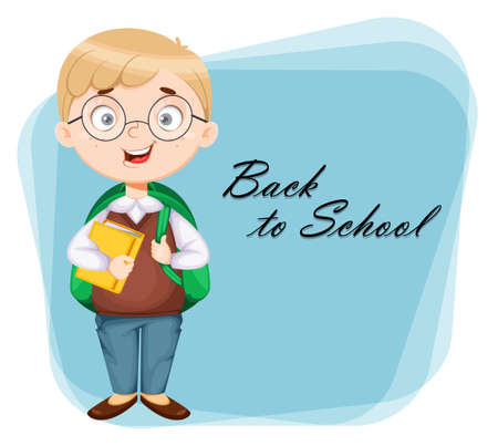Back to school greeting card. Cute schoolboy with backpack and book. Funny boy cartoon character. Vector illustration