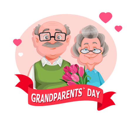 Happy Grandparents day greeting card. Cheerful grandmother and grandfather cartoon characters. Grandma and grandpa standing together. Vector illustration