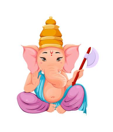 Lord Ganesha, Ganpati idol in traditional Indian clothes for Ganesha Chaturthi holiday. Vector illustration on white background