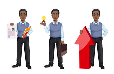 African American business man holding resume, having a good idea and standing near arrow, set of three poses. Cheerful handsome businessman cartoon character. Vector illustration