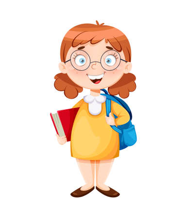 Back to school. Cute schoolgirl with book and backpack. Funny girl cartoon character. Vector illustration 向量圖像