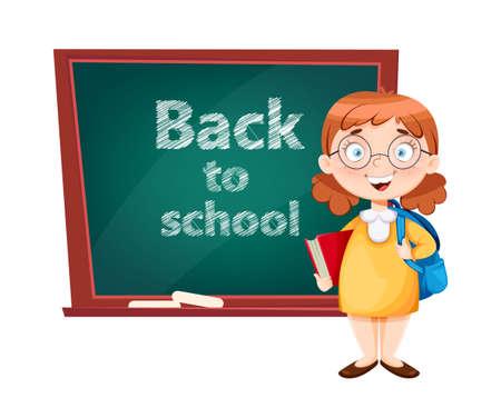 Back to school. Cute schoolgirl standing near chalkboard. Funny girl cartoon character. Vector illustration