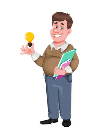 Back to school. Cheerful male teacher. Handsome teacher cartoon character. Vector illustration isolated on white background