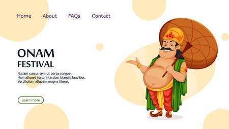 Happy Onam festival in Kerala. Onam celebration, traditional Indian holiday. King Mahabali with umbrella. Vector illustration, usable for website, landing page etc.