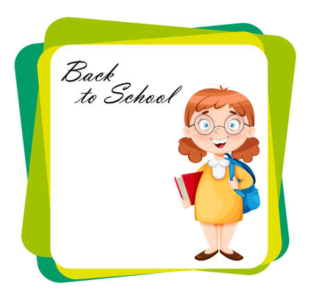 Back to school. Cute schoolgirl with backpack and book. Funny girl cartoon character. Vector illustration on abstract background