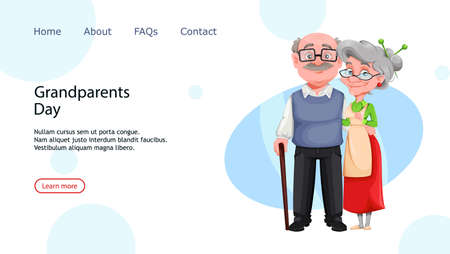 Happy Grandparents day. Cheerful grandmother and grandfather cartoon characters. Grandma and grandpa standing together. Vector illustration, usable for landing page, website etc.