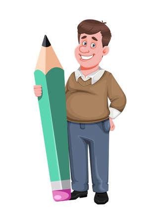 Back to school. Cheerful male teacher holds big pencil. Handsome teacher cartoon character. Vector illustration isolated on white background