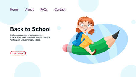 Back to school. Cute schoolgirl sitting on big pencil. Funny girl cartoon character. Vector illustration, usable for landing page, website etc.
