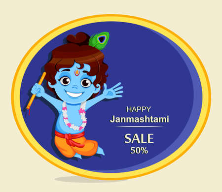 Happy Krishna Janmashtami sale. Little Lord Krishna with flute. Happy Janmashtami festival of India. Vector illustration
