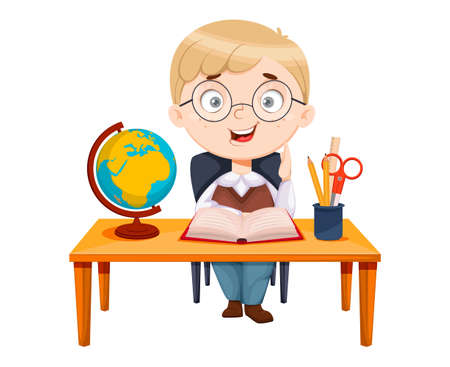 Back to school. Cute schoolgirl sitting at the desk while geography lesson. Funny girl cartoon character. Vector illustration